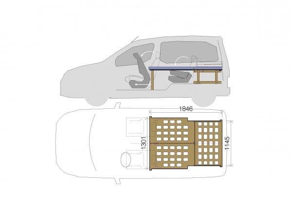 Camporan - MiniVAN van bed dimensions